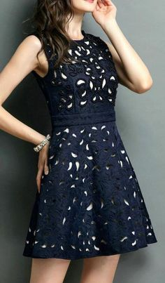 Navy Sleeveless Slim Bead Hollow Dress. Via Rachelle Au Coin. #dresses #navy