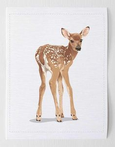 Baby deer art, fawn woodland animal nursery artwork from Paper Llamas. These are printed on awesome canvas paper and there are tons of other animals available. Woodland Animal Nursery, Woodland Nursery Decor, Woodland Animals, Woodland Forest, John Bennett, Deer Art, Baby Deer, Baby Boy, Nursery Artwork