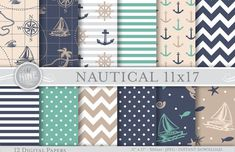NAUTICAL 11 x 17 Digital Paper NEUTRAL BLUE