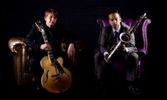 nigel price and vasilis xenopoulos seated in armchairs with their instruments Armchairs, Jazz, Instruments, London, Concert, Music, Wing Chairs, Musica, Couches
