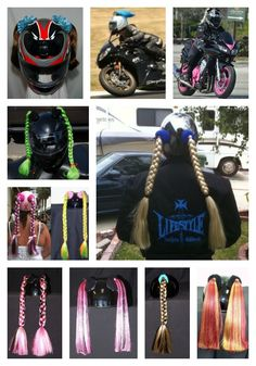 Motorcycle Helmet Pigtails - Now I can really change my hair color!