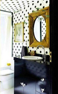 black and white polka dot bathroom