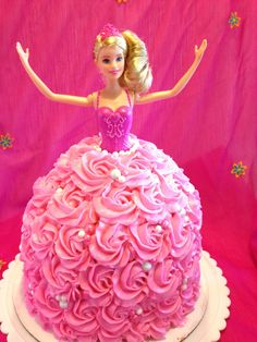 Barbie Cake How-To: learn how to make this awesome Barbie cake with easy step by step instructions with pictures!