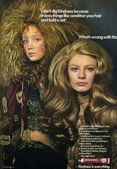 Big hair on 60s hair product advertisement.