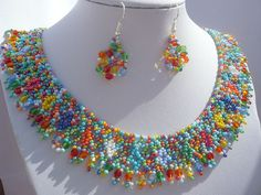 colorful beadwork necklace multicolor beaded by Evasjewelery