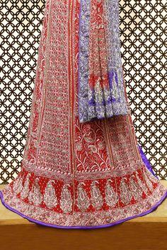 Ada #handembroidered  Red/Blue #puregeorgette #lucknowi  #chikankari  #lehenga Set- A26507
