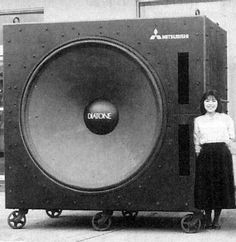 Either that woman is very small, or... Mitsubishi Diatone D-160 Subwoofer, via Flickr. PW-1600 honeycomb cone type woofer (160cm)    photographer unknown