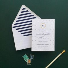 sweet nautical save the date with gold foil