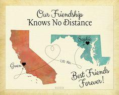 Best Friend Long Distance Present Going Away Gift by KeepsakeMaps