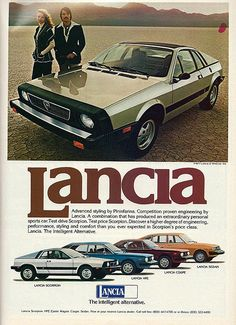 "Vintage Automobile Advertising: 1977 Lancia, ""The Intelligent Alternative"", From Road and Track Magazine, June 1977."