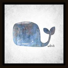 Illustrated Textured Whale Juvenile Painting Blue, Framed Canvas Art by Pied Piper Creative, Brown