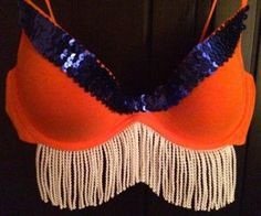 #Denver #Broncos Bra decorated by Spy Kitten for the Free the Girls inaugural #BRAlapalooza fundraising gala.