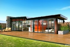 Contemporary Deck with Raised beds, Fence, Trex Elevations Steel Deck Framing