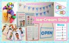 Ice-cream shop role play printables and resources. Ideas for making pretend ice-creams.