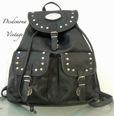 Vintage faux leather studded back pack from Desdemona Style & Vintage
