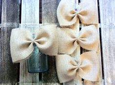 Burlap bows-Wedding bows-Wedding decorations-Summer party decorations-Rustic decor ideas