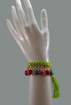 Hand Woven Skull Charm Bracelet