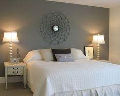 "Master bedroom with painted wall ""headboard"" - eclectic - bedroom - studio M Home Decor Bedroom, Bedroom Wall, Master Bedroom, Bedroom Ideas, Bedroom Simple, Modern Bedroom, Bedroom Furniture, Headboard Decor, Headboard Designs"