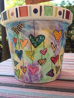 Painted pot: Hearts