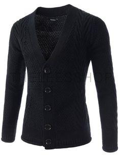 FFC17-WINE) Slim Fit Shawl Collar 5 Button Knitted Cardigan | My ...