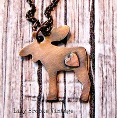 Copper Rustic Moose Necklace  Moose Jewelry by lilybrookevintage, $22.00