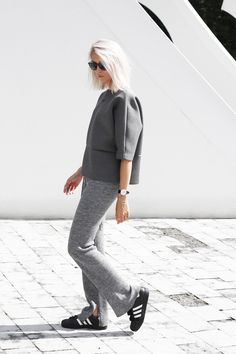 Altewaisaome scuba top | Zara knitted trousers | Adidas Superstar sneakers | Ray Ban sunglasses | Anna Lawska necklace | Daniel Wellington watch
