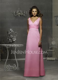 Bridesmaid Dresses - $108.99 - Nice A-Line/Princess V-neck Floor-Length Chiffon Bridesmaid Dress with Ruffle (007001785) jenjenhouse.com
