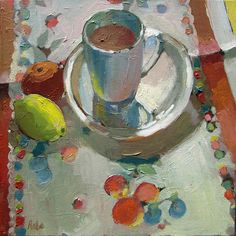 Carol Rabe Cup and Sauceroil on canvas, 12 x 12