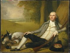 """Hunting Git! """"Reclining Hunter,"""" 1783-84, Ralph Earl. A parody on the Georgian gentleman hunter! Loads of dead things in this painting, even a dead donkey! And a hat full of mushrooms! Maybe he had been eating the magic type and started hallucinating, and shot at everything that moved???"""