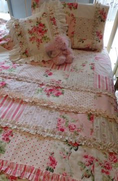 BAREFOOT ROSES quilt cover / doona sets  Idea for bedspread, but use darker florals & prints