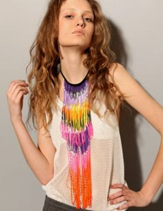 Multi Color Fringe Necklace $83 Starstyling @ pixiemarket.com