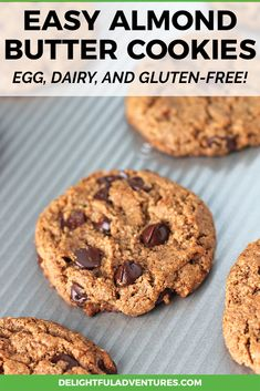 When you bake a batch of these soft, chewy, flourless vegan almond butter cookies, you'll be glad you did! This easy vegan almond butter cookie recipe is naturally gluten-free, it's packed with chocolate chips, and super easy to make. Vegan Gluten Free Cookies, Keto Cookies, Almond Butter Cookie Recipe, Coconut Sugar, Chocolate Chips, Super Easy, Baking, Desserts, Recipes