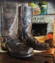 Frye Vintage Brownish Black vintage patina leather harness boots at IronCrowVintage, $189.99