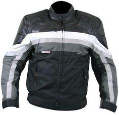 Arrow Black Grey White Tri Tex Level-3 Armored Motorcycle Jacket