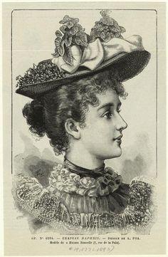 Chapeau Daphnis. (1893) Victorian 1890s hat. Fashion plate.