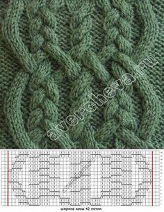 Вязаный жгут из переплетенных кос | каталог вязаных спицами узоров | вязание | Постила
