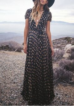 Black Floral Pattern Galaxy Star Print Plunging Neckline Boho Casual Polyester Maxi Dress