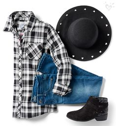 Wild for western-inspo style? Start with your fave denim, and a plaid shirt, then layer head-to-toe accessories (hint: these sparkle boots and cute cut out hat)!