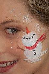 snow face paint snowman Christmas cheek art