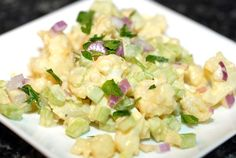 No Potato Salad paleo recipe. Substitutes cauliflower for potatoes. Yum! Add chopped dill pickles for even more flavor.