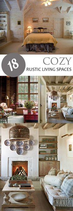 Rustic Living Spaces, Home Decor IDeas, Cozy Home, Cozy Home Ideas, Rustic Home, Interior Design Ideas, Beautiful Interior Design, Popular #homeinteriordesign