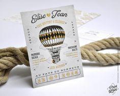 FAIRE-PART Mariage Theme Voyage, Rétro, Vintage, Montgolfière, Original, Imprimerie