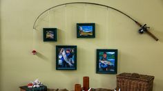 fishing decor for homes home family diy fishing pole frames Fishing Pole Frame, Fishing Pole Decor, Fishing Theme Rooms, Fishing Themed Bedroom, Boys Fishing Bedroom, Hunting Bedroom, Home And Family Hallmark, Fishing Photography, Fish Crafts
