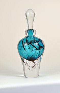Vintage Glass Perfume Bottle | Teal Blue Craquele by Kalki Mansel