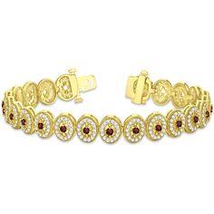 Allurez Garnet Halo Vintage Bracelet 18k Yellow Gold (6.00ct) (225,745 HNL) ❤ liked on Polyvore featuring jewelry, bracelets, vintage jewelry, vintage garnet jewelry, vintage bangles, yellow gold jewelry and 18 karat gold bangles