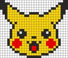 Pikachu Head Perler Bead Pattern / Bead Sprite by clara Perler Bead Designs, Hama Beads Design, Perler Bead Art, Kandi Patterns, Pearler Bead Patterns, Perler Patterns, Beading Patterns, Bracelet Patterns, Color Patterns