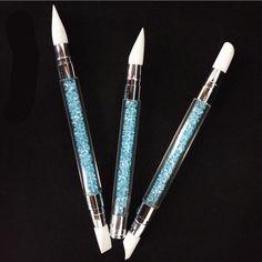 3Pcs Acrylic Handle Rhinestone Nail Art Brushes Silicone Head Nail Carving Pencil Nail Brush Salon Tool