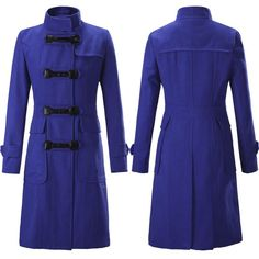 Women Wool Coats, Plus Size Winter Coat Black, Blue, Green, Red