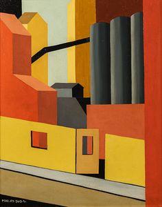 ein-bleistift-und-radiergummi:  Miklos Suba'Industrial Scene'ca. 1930.