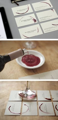 wine print. What a great idea. You can use water colours as well and every card will be unique